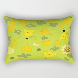 Yellow Mice Hearts and Flowers Digital Love Art Rectangular Pillow