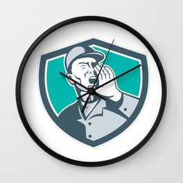 Worker Shouting With Hand in Mouth Shield Wall Clock