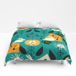 Mid-century pattern with bunnies Comforters