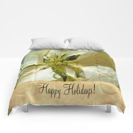 Pale Yellow Poinsettia 1 Happy Holidays S2F1 Comforters