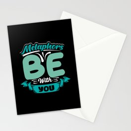Metaphors be with you reading writing design Stationery Cards