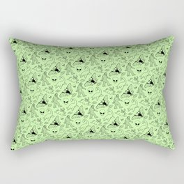 Cryptid Pattern: Black on Green Rectangular Pillow