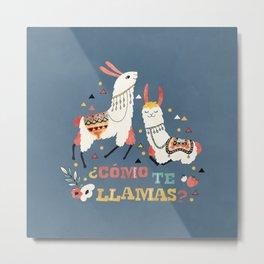 Como te Llamas. Funny Spanish Word Humor. Flowers and two Llamas Metal Print