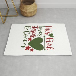 This Girl Loves Jesus And Cocoa - Funny Christmas humor - Cute typography - Lovely Xmas quotes illustration Rug