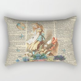 Vintage Alice In Wonderland on a Dictionary Page Rectangular Pillow