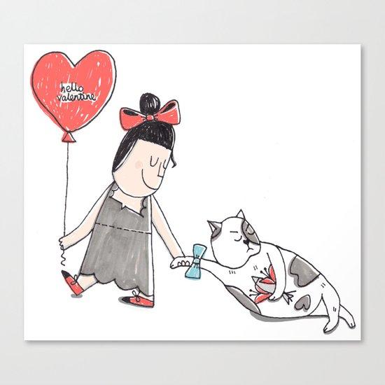 Hello valentine Canvas Print