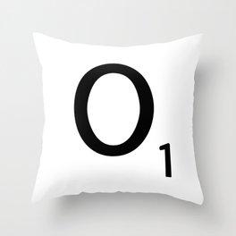 Letter O - Custom Scrabble Letter Tile Art - Scrabble O Initial Throw Pillow
