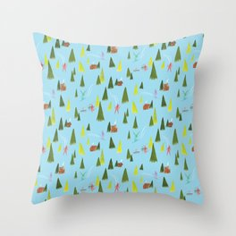 Ski Lodge Pattern Throw Pillow