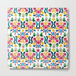 Colorful oriental watercolor floral pattern. Metal Print