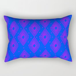 Mudcloth Dotty Diamonds in Neon Purple + Cobalt Rectangular Pillow