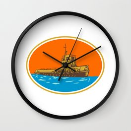 Tugboat Tug Towboat Woodcut Wall Clock