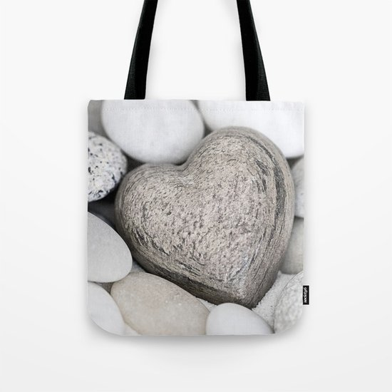 Stone Heart and pebble greige tones Tote Bag