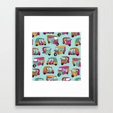 India rickshaw illustration pattern Framed Art Print