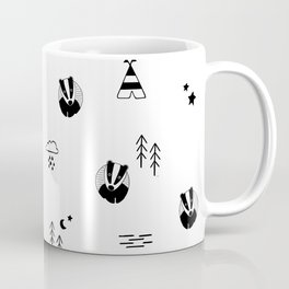 badger, scandinavian forest animals, black & white Coffee Mug