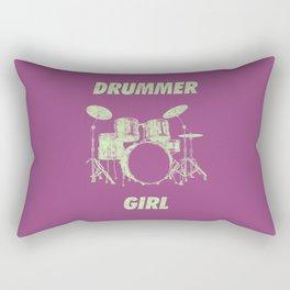 Drummer Girl Funny Drums Vintage Drumming Distressed Rectangular Pillow