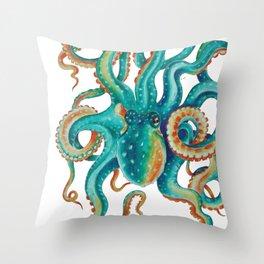 Octopus Tentacles Teal Green Watercolor Art Throw Pillow