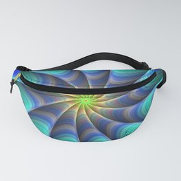 Peacock Feathered-Inspired Spiral Fractal Art Fanny Pack