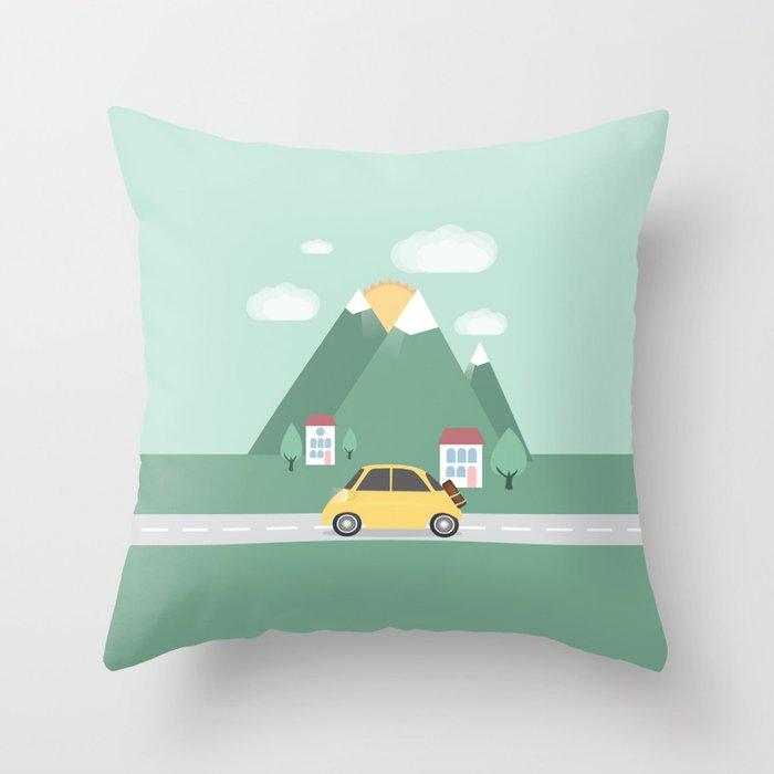 Little Yellow Car Throw Pillow