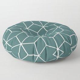 Cube Geometric 03 Teal Floor Pillow