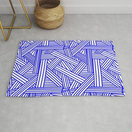 Sketchy Abstract (Blue & White Pattern) Rug