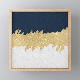 Navy blue white lace gold glitter brushstrokes Framed Mini Art Print