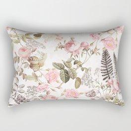 Vintage & Shabby Chic - Blush Roses and Fern Leaf Rectangular Pillow