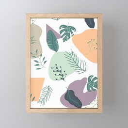 Modern summer retro pastel geometric shapes tropical leaf Framed Mini Art Print