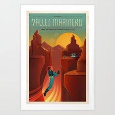 DISCOVER MARS - Valles Marineris | Space | X | Canyon | Retro | Vintage | Futurism | Sci-Fi Art Print