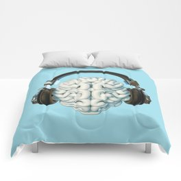 Mind Music Connection /3D render of human brain wearing headphones Comforters
