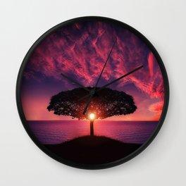 Purple Sunset Wall Clock
