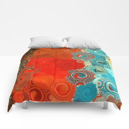 Turquoise and Red Swirls Comforters