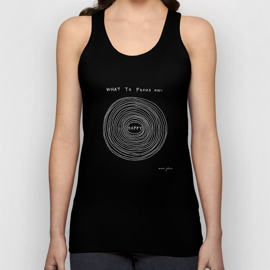 What to focus on - Happy (on black) Unisex Tank Top
