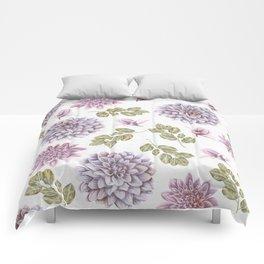 Lavender Rose Garden Floral Pattern Comforters