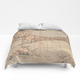 Vintage Map of Cape Cod MA (1905) Comforters