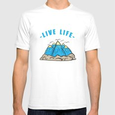 Live life Mens Fitted Tee White MEDIUM