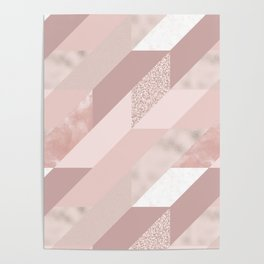 Abstract geometrical blush pink rose gold glitter Poster