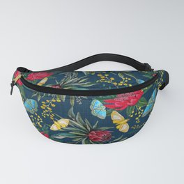 Protea and Watarah with golden wattle, Australian flowers and butterfly moths painted in watercolor Fanny Pack