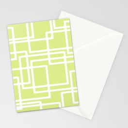 Retro Modern White Rectangles On Pale Grape Stationery Cards