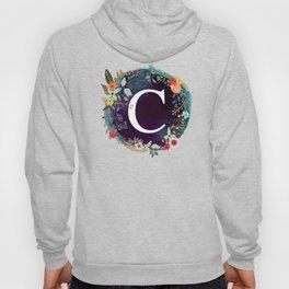 Personalized Monogram Initial Letter C Floral Wreath Artwork Hoody