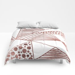 Geometrical modern faux rose gold abstract shapes Comforters