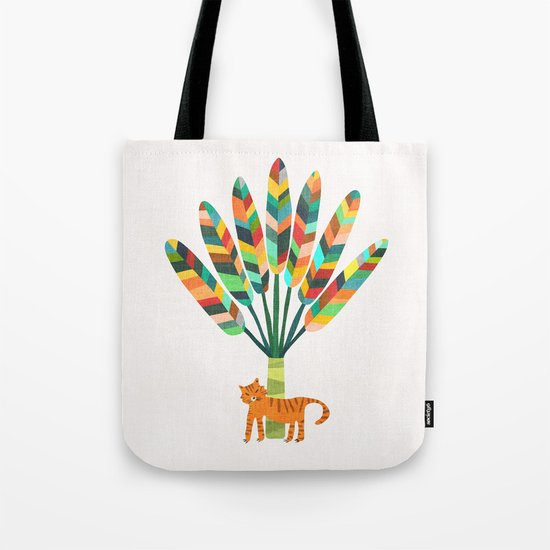 Whimsical travelers palm with tiger Tote Bag