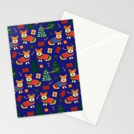 Merry Corgmess- Corgi Celebrate Christmas 2 - Xmas Midnight Blue Stationery Cards