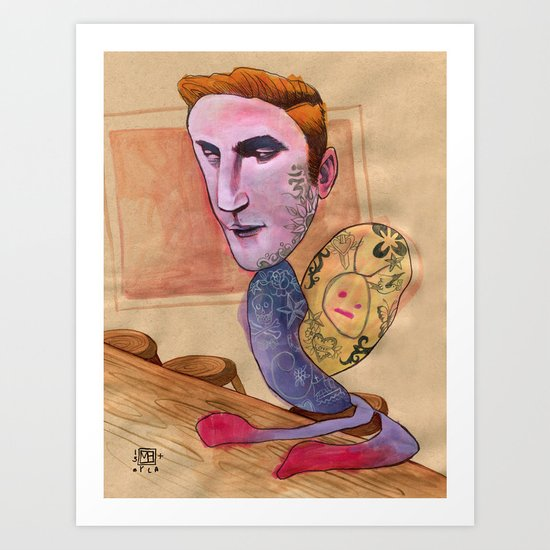 TATTOOED SNAIL DUDE Art Print