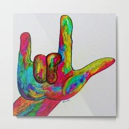 American Sign Language I love you Metal Print