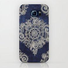 Cream Floral Moroccan Pattern on Deep Indigo Ink Galaxy S8 Slim Case