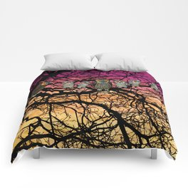 great horned owls at sunset Comforters