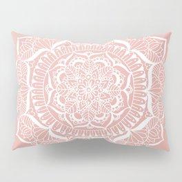 White Flower Mandala on Rose Gold Pillow Sham