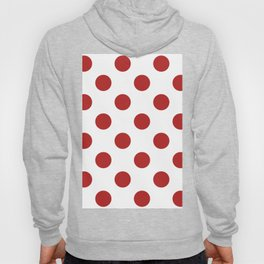 Large Polka Dots - Firebrick Red on White Hoody