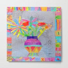 Flower Vase | Kids Painting | 3D Collage Metal Print