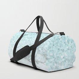 Turquoise Sea Mermaid Glitter Marble Duffle Bag